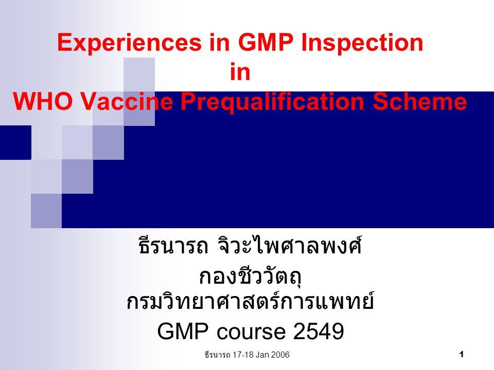 ธีรนารถ 17-18 Jan 2006 2 WHO Vaccine Quality Assurance Scheme Vaccine Prequalification (priorities, EPI vaccines) NRA Assessment Manufacturer site visit