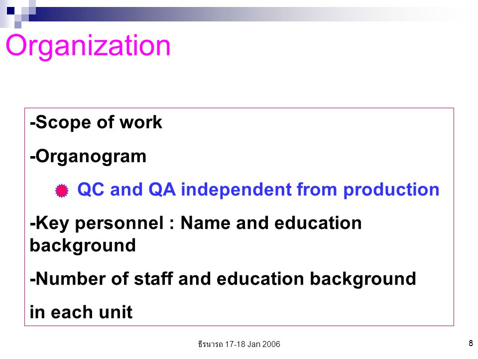 ธีรนารถ 17-18 Jan 2006 8 Organization -Scope of work -Organogram QC and QA independent from production -Key personnel : Name and education background -Number of staff and education background in each unit