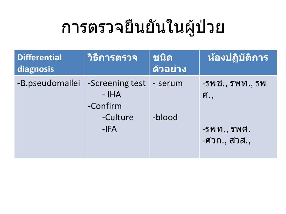 การตรวจยืนยันในผู้ป่วย Differential diagnosis วิธีการตรวจชนิด ตัวอย่าง ห้องปฏิบัติการ -B.pseudomallei-Screening test - IHA -Confirm -Culture -IFA - serum -blood - รพช., รพท., รพ ศ., - รพท., รพศ.