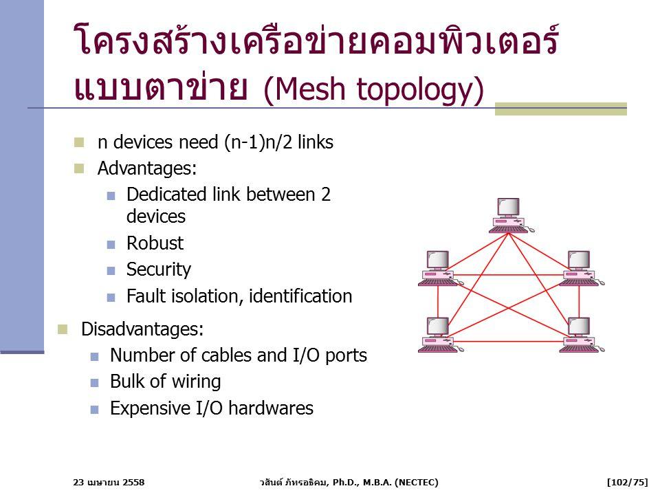 23 เมษายน 2558 วสันต์ ภัทรอธิคม, Ph.D., M.B.A. (NECTEC) [102/75] โครงสร้างเครือข่ายคอมพิวเตอร์ แบบตาข่าย (Mesh topology) n devices need (n-1)n/2 links
