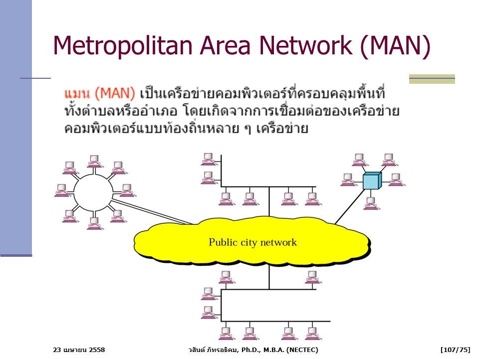 23 เมษายน 2558 วสันต์ ภัทรอธิคม, Ph.D., M.B.A. (NECTEC) [107/75] Metropolitan Area Network (MAN)