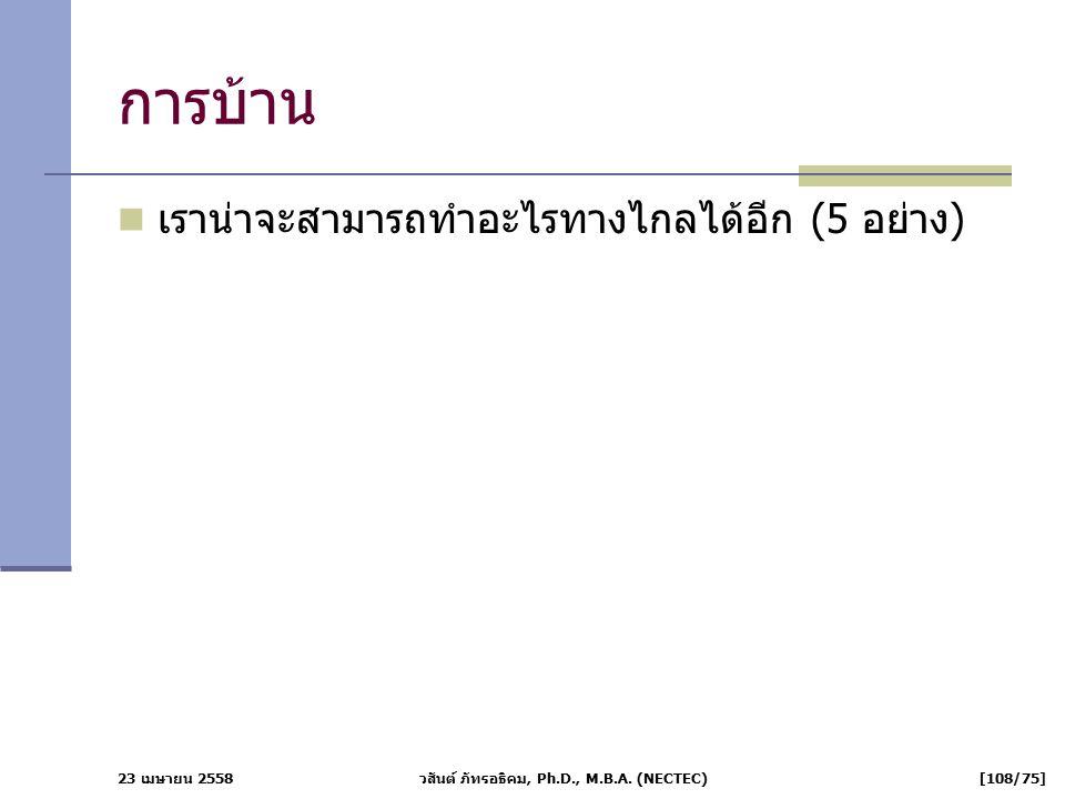 23 เมษายน 2558 วสันต์ ภัทรอธิคม, Ph.D., M.B.A. (NECTEC) [108/75] การบ้าน เราน่าจะสามารถทำอะไรทางไกลได้อีก (5 อย่าง)