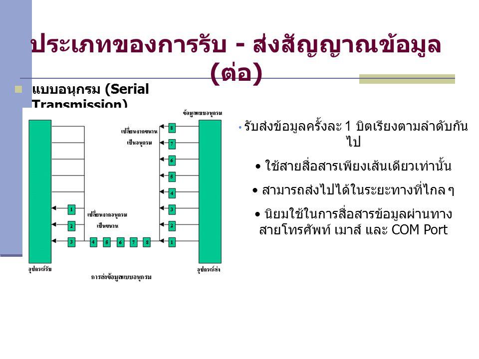 ประเภทของการรับ - ส่งสัญญาณข้อมูล (ต่อ) แบบอนุกรม (Serial Transmission) รับส่งข้อมูลครั้งละ 1 บิตเรียงตามลำดับกัน ไป ใช้สายสื่อสารเพียงเส้นเดียวเท่านั้น สามารถส่งไปได้ในระยะทางที่ไกล ๆ นิยมใช้ในการสื่อสารข้อมูลผ่านทาง สายโทรศัพท์ เมาส์ และ COM Port