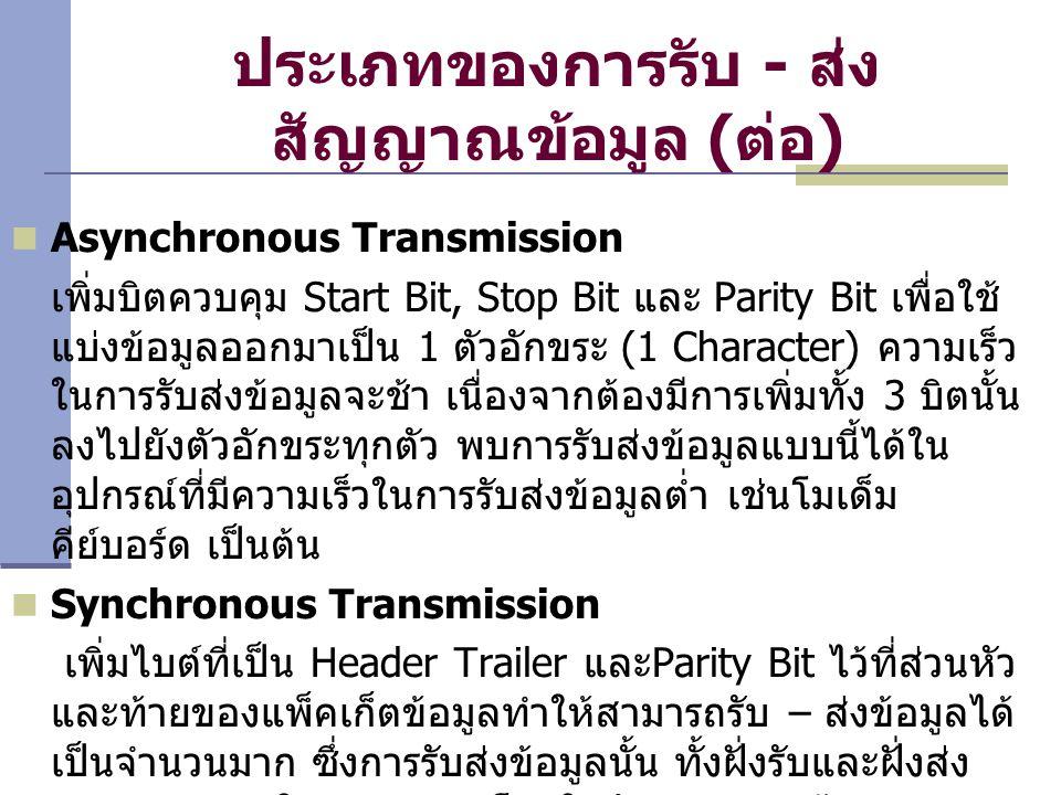ประเภทของการรับ - ส่ง สัญญาณข้อมูล (ต่อ) Asynchronous Transmission เพิ่มบิตควบคุม Start Bit, Stop Bit และ Parity Bit เพื่อใช้ แบ่งข้อมูลออกมาเป็น 1 ตั