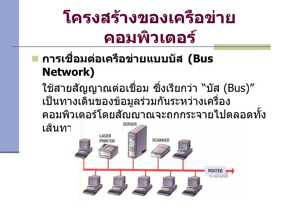โครงสร้างของเครือข่าย คอมพิวเตอร์ การเชื่อมต่อเครือข่ายแบบบัส (Bus Network) ใช้สายสัญญาณต่อเชื่อม ซึ่งเรียกว่า บัส (Bus) เป็นทางเดินของข้อมูลร่วมกันระหว่างเครื่อง คอมพิวเตอร์โดยสัญญาณจะถูกกระจายไปตลอดทั้ง เส้นทาง