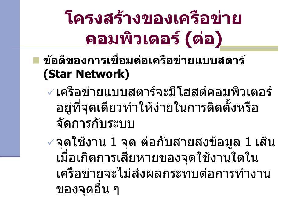 โครงสร้างของเครือข่าย คอมพิวเตอร์ (ต่อ) ข้อดีของการเชื่อมต่อเครือข่ายแบบสตาร์ (Star Network) เครือข่ายแบบสตาร์จะมีโฮสต์คอมพิวเตอร์ อยู่ที่จุดเดียวทำให