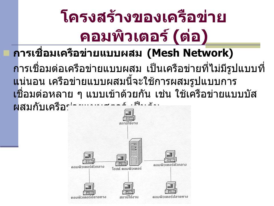 โครงสร้างของเครือข่าย คอมพิวเตอร์ (ต่อ) การเชื่อมเครือข่ายแบบผสม (Mesh Network) การเชื่อมต่อเครือข่ายแบบผสม เป็นเครือข่ายที่ไม่มีรูปแบบที่ แน่นอน เครือข่ายแบบผสมนี้จะใช้การผสมรูปแบบการ เชื่อมต่อหลาย ๆ แบบเข้าด้วยกัน เช่น ใช้เครือข่ายแบบบัส ผสมกับเครือข่ายแบบสตาร์ เป็นต้น