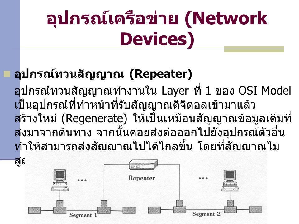 อุปกรณ์เครือข่าย (Network Devices) อุปกรณ์ทวนสัญญาณ (Repeater) อุปกรณ์ทวนสัญญาณทำงานใน Layer ที่ 1 ของ OSI Model เป็นอุปกรณ์ที่ทำหน้าที่รับสัญญาณดิจิตอลเข้ามาแล้ว สร้างใหม่ (Regenerate) ให้เป็นเหมือนสัญญาณข้อมูลเดิมที่ ส่งมาจากต้นทาง จากนั้นค่อยส่งต่อออกไปยังอุปกรณ์ตัวอื่น ทำให้สามารถส่งสัญญาณไปได้ไกลขึ้น โดยที่สัญญาณไม่ สูญหาย