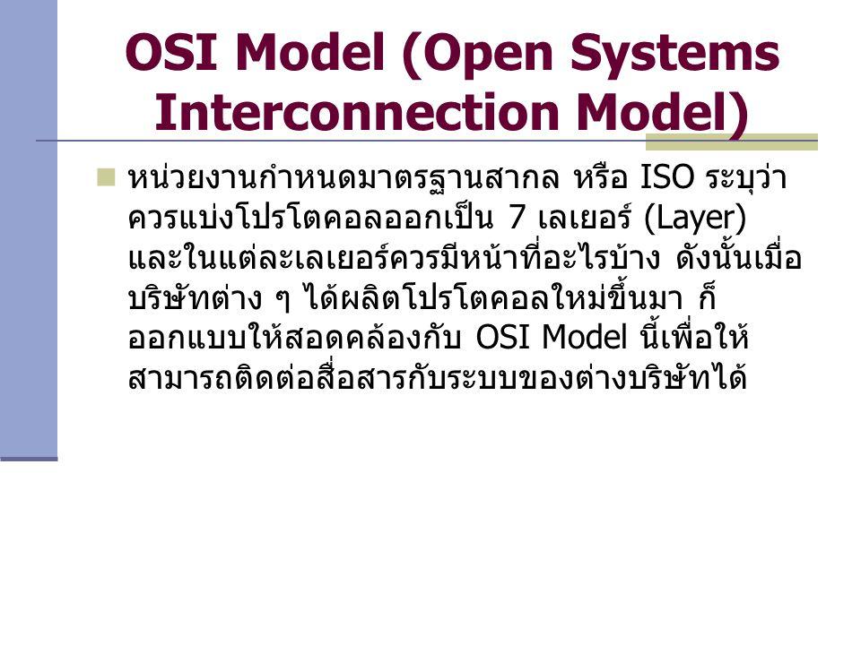 OSI Model (Open Systems Interconnection Model) หน่วยงานกำหนดมาตรฐานสากล หรือ ISO ระบุว่า ควรแบ่งโปรโตคอลออกเป็น 7 เลเยอร์ (Layer) และในแต่ละเลเยอร์ควร