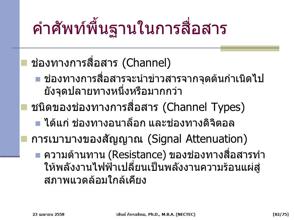 23 เมษายน 2558 วสันต์ ภัทรอธิคม, Ph.D., M.B.A. (NECTEC) [82/75] คำศัพท์พื้นฐานในการสื่อสาร ช่องทางการสื่อสาร (Channel) ช่องทางการสื่อสารจะนำข่าวสารจาก