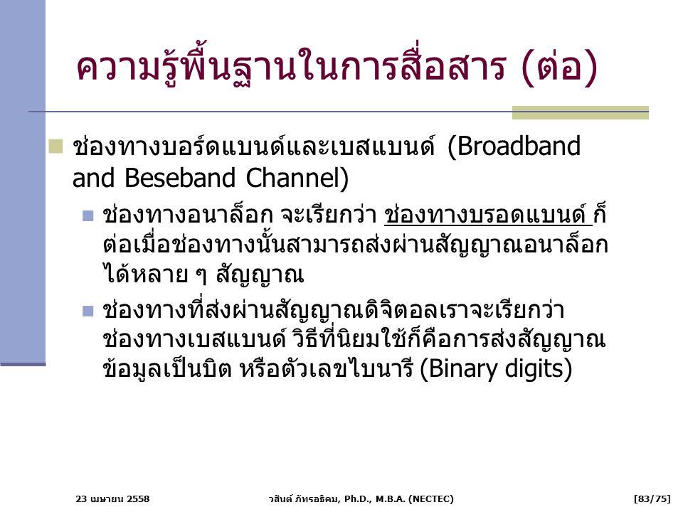 23 เมษายน 2558 วสันต์ ภัทรอธิคม, Ph.D., M.B.A. (NECTEC) [83/75] ความรู้พื้นฐานในการสื่อสาร (ต่อ) ช่องทางบอร์ดแบนด์และเบสแบนด์ (Broadband and Beseband