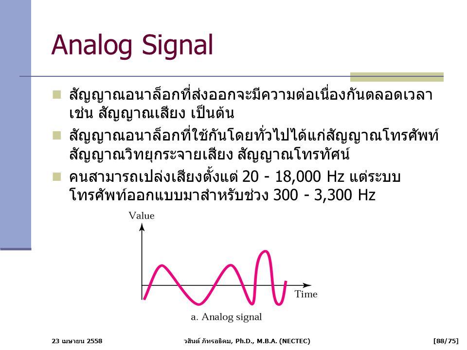 23 เมษายน 2558 วสันต์ ภัทรอธิคม, Ph.D., M.B.A. (NECTEC) [88/75] Analog Signal สัญญาณอนาล็อกที่ส่งออกจะมีความต่อเนื่องกันตลอดเวลา เช่น สัญญาณเสียง เป็น