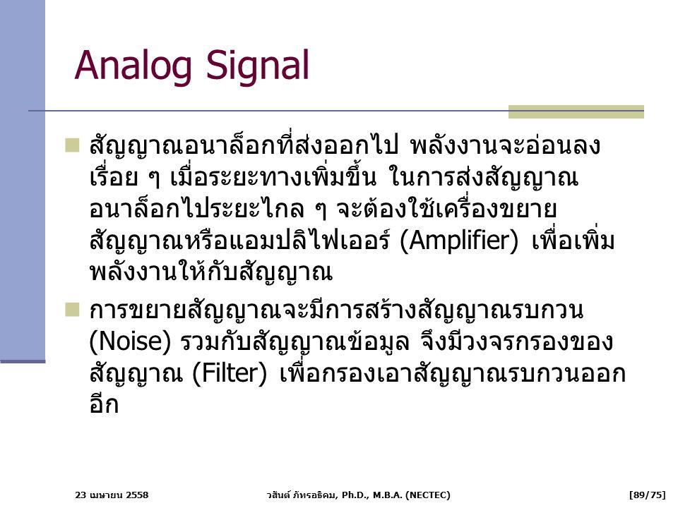 23 เมษายน 2558 วสันต์ ภัทรอธิคม, Ph.D., M.B.A. (NECTEC) [89/75] Analog Signal สัญญาณอนาล็อกที่ส่งออกไป พลังงานจะอ่อนลง เรื่อย ๆ เมื่อระยะทางเพิ่มขึ้น