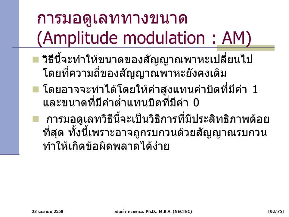 23 เมษายน 2558 วสันต์ ภัทรอธิคม, Ph.D., M.B.A. (NECTEC) [92/75] การมอดูเลททางขนาด (Amplitude modulation : AM) วิธีนี้จะทำให้ขนาดของสัญญาณพาหะเปลี่ยนไป
