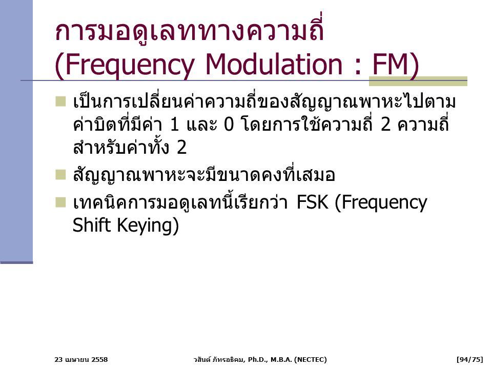 23 เมษายน 2558 วสันต์ ภัทรอธิคม, Ph.D., M.B.A. (NECTEC) [94/75] การมอดูเลททางความถี่ (Frequency Modulation : FM) เป็นการเปลี่ยนค่าความถี่ของสัญญาณพาหะ