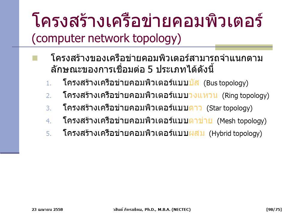 23 เมษายน 2558 วสันต์ ภัทรอธิคม, Ph.D., M.B.A. (NECTEC) [98/75] โครงสร้างเครือข่ายคอมพิวเตอร์ (computer network topology) โครงสร้างของเครือข่ายคอมพิวเ