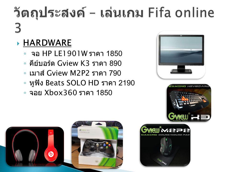  HARDWARE ◦ จอ HP LE1901W ราคา 1850 ◦ คีย์บอร์ด Gview K3 ราคา 890 ◦ เมาส์ Gview M2P2 ราคา 790 ◦ หูฟัง Beats SOLO HD ราคา 2190 ◦ จอย Xbox360 ราคา 1850
