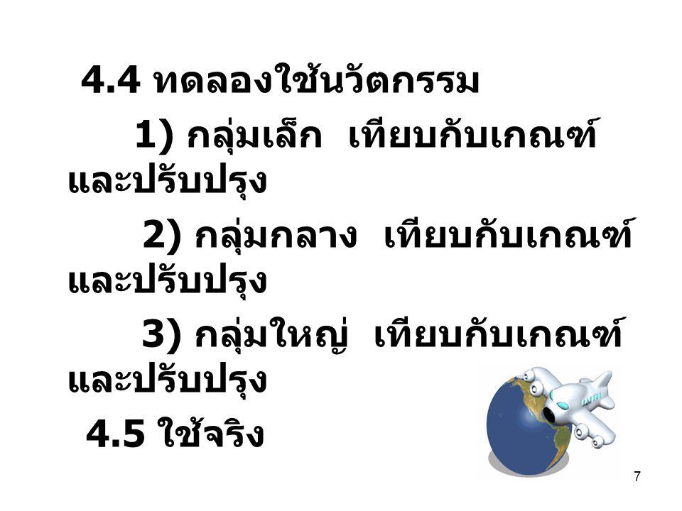 7 4.4 ทดลองใช้นวัตกรรม 1) กลุ่มเล็ก เทียบกับเกณฑ์ และปรับปรุง 2) กลุ่มกลาง เทียบกับเกณฑ์ และปรับปรุง 3) กลุ่มใหญ่ เทียบกับเกณฑ์ และปรับปรุง 4.5 ใช้จริ