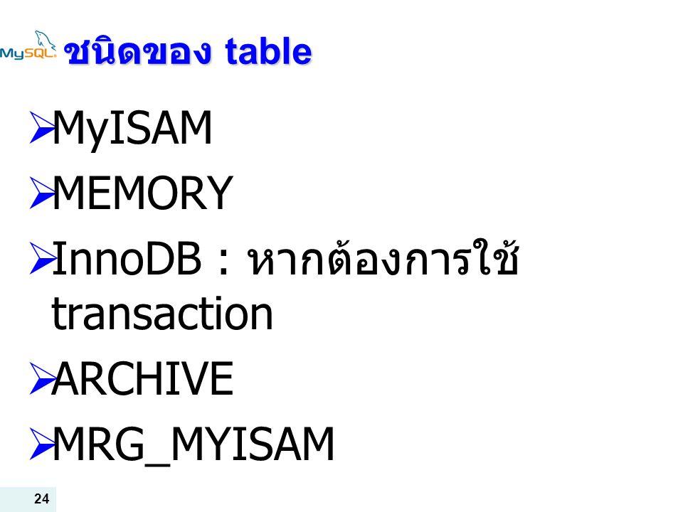 24 ชนิดของ table  MyISAM  MEMORY  InnoDB : หากต้องการใช้ transaction  ARCHIVE  MRG_MYISAM