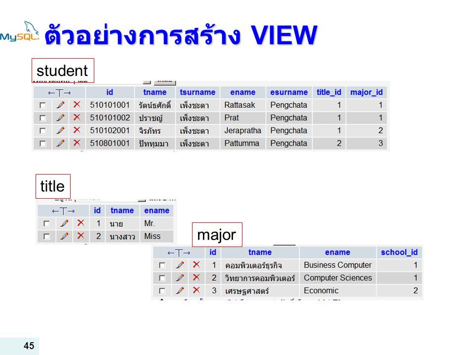 45 ตัวอย่างการสร้าง VIEW student title major