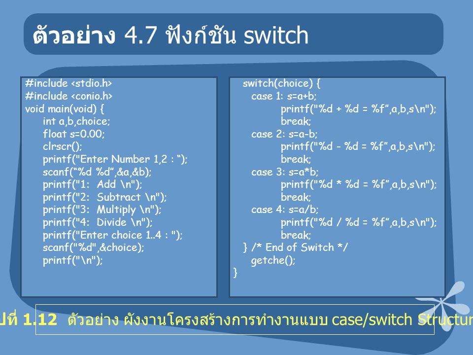 ตัวอย่าง 4.7 ฟังก์ชัน switch #include void main(void) { int a,b,choice; float s=0.00; clrscr(); printf( Enter Number 1,2 : ); scanf( %d %d ,&a,&b); printf( 1: Add \n ); printf( 2: Subtract \n ); printf( 3: Multiply \n ); printf( 4: Divide \n ); printf( Enter choice 1..4 : ); scanf( %d ,&choice); printf( \n ); switch(choice) { case 1: s=a+b; printf( %d + %d = %f ,a,b,s\n ); break; case 2: s=a-b; printf( %d - %d = %f ,a,b,s\n ); break; case 3: s=a*b; printf( %d * %d = %f ,a,b,s\n ); break; case 4: s=a/b; printf( %d / %d = %f ,a,b,s\n ); break; }/* End of Switch */ getche(); } รูปที่ 1.12 ตัวอย่าง ผังงานโครงสร้างการทำงานแบบ case/switch Structure