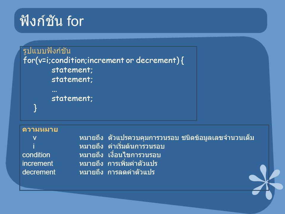 ฟังก์ชัน for รูปแบบฟังก์ชัน for(v=i;condition;increment or decrement) { statement; … statement; } ความหมาย v หมายถึง ตัวแปรควบคุมการวนรอบ ชนิดข้อมูลเลขจำนวนเต็ม i หมายถึง ค่าเริ่มต้นการวนรอบ condition หมายถึง เงื่อนไขการวนรอบ increment หมายถึง การเพิ่มค่าตัวแปร decrement หมายถึง การลดค่าตัวแปร