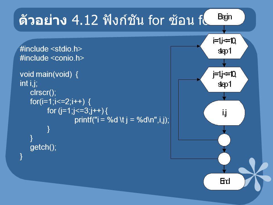 ตัวอย่าง 4.12 ฟังก์ชัน for ซ้อน for #include void main(void) { int i,j; clrscr(); for(i=1;i<=2;i++) { for (j=1;j<=3;j++) { printf( i = %d \t j = %d\n ,i,j); } getch(); }