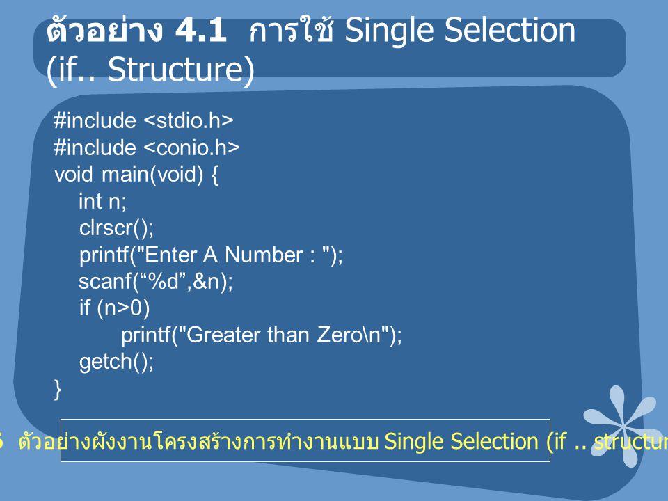 ตัวอย่าง 4.1 การใช้ Single Selection (if.. Structure) #include void main(void) { int n; clrscr(); printf(