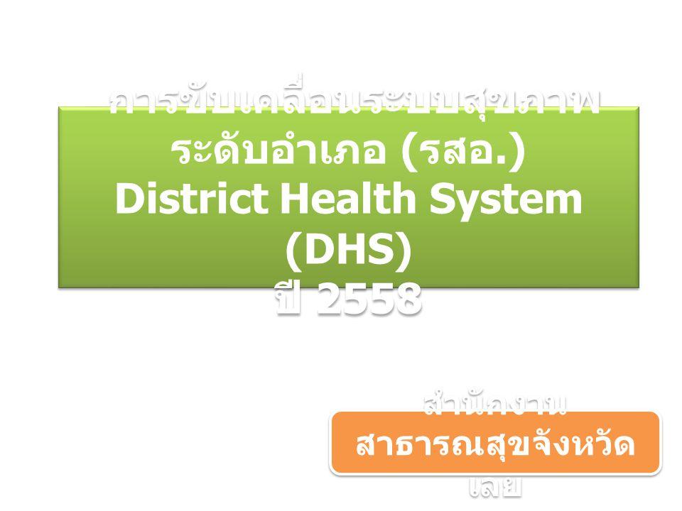 การขับเคลื่อนระบบสุขภาพ ระดับอำเภอ ( รสอ.) District Health System (DHS) ปี 2558 สำนักงาน สาธารณสุขจังหวัด เลย