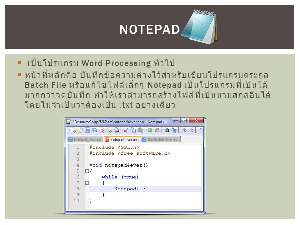  เป็นโปรแกรม Word Processing ทั่วไป  หน้าที่หลักคือ บันทึกข้อความต่างไว้สำหรับเขียนโปรแกรมตระกูล Batch File หรือแก้ไขไฟล์เล็กๆ Notepad เป็นโปรแกรมที่เป็นได้ มากกว่าจดบันทึก ทำให้เราสามารถสร้างไฟล์ที่เป็นนามสกุลอื่นได้ โดยไม่จำเป็นว่าต้องเป็น.txt อย่างเดียว NOTEPAD