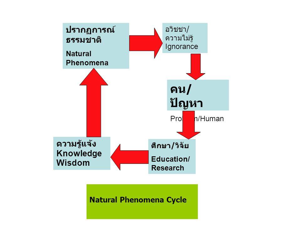 อวิชชา / ความไม่รู้ Ignorance คน / ปัญหา Problem/Human ศึกษา / วิจัย Education/ Research ความรู้แจ้ง Knowledge Wisdom ปรากฏการณ์ ธรรมชาติ Natural Phenomena Natural Phenomena Cycle