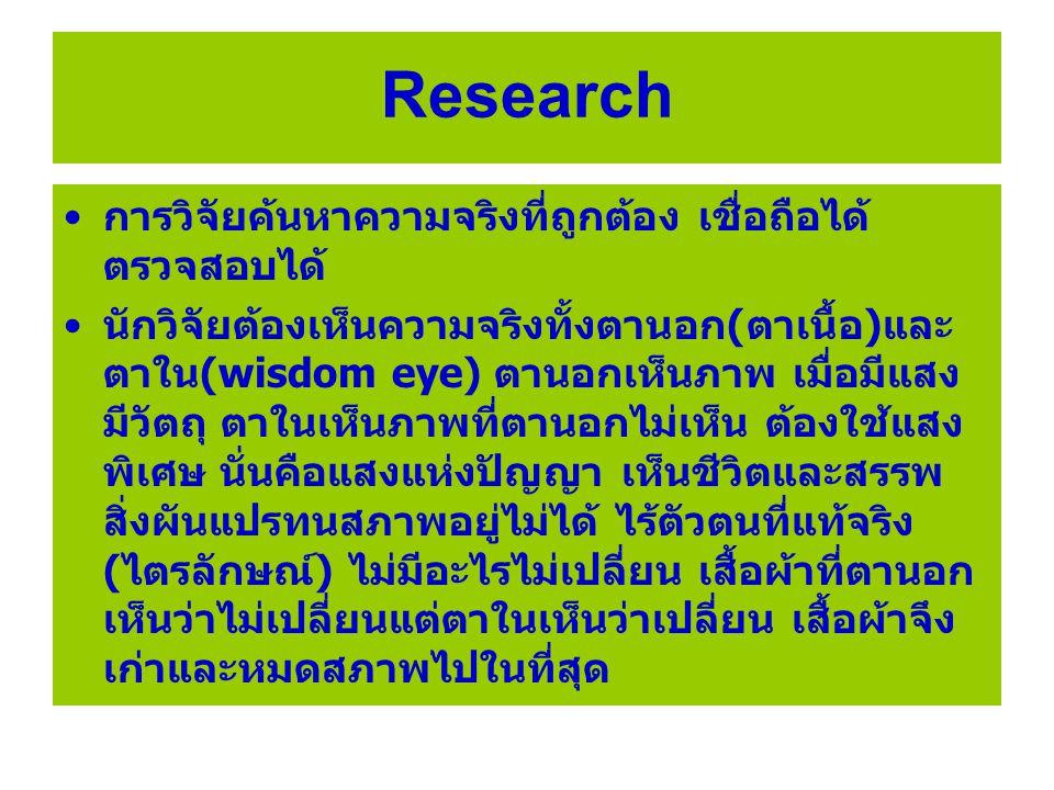 ทฤษฎี/ทิฏฐิ/Theory ทฤษฎี หรือทิฏฐิ ในภาษาบาลี ภาษาอังกฤษ เรียกว่า Theory ทฤษฎีคืออะไร ตามตัวพยัญชนะ หรือตัวหนังสือ แปลว่า ความเห็น จะเห็นได้ต้องดู และดูอย่างพินิจ พิจารณา ที่เรียกทางการวิจัยว่า สังเกต (observed) ตานอกเห็นวัตถุแสงสีต่างๆ ที่เป็น ความจริงของตานอก ส่วนตาในสังเกตเห็นความ จริงที่ชีวิตและสรรพสิ่งไม่จีรังผันแปรทนสภาพอยู่ ไม่ได้และไร้ตัวตน