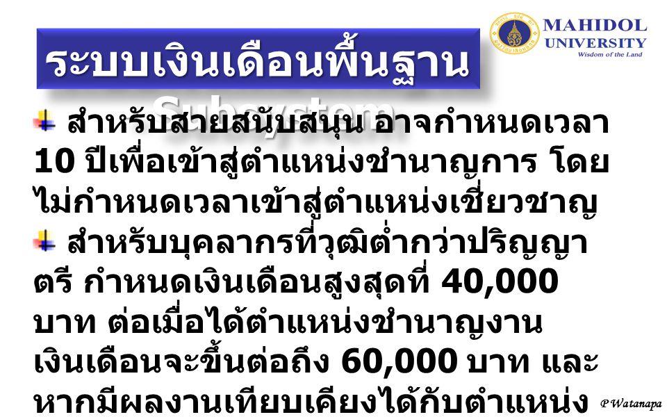 P Watanapa ระบบเงินเดือนพื้นฐาน - Subsystem สำหรับสายสนับสนุน อาจกำหนดเวลา 10 ปีเพื่อเข้าสู่ตำแหน่งชำนาญการ โดย ไม่กำหนดเวลาเข้าสู่ตำแหน่งเชี่ยวชาญ สำ