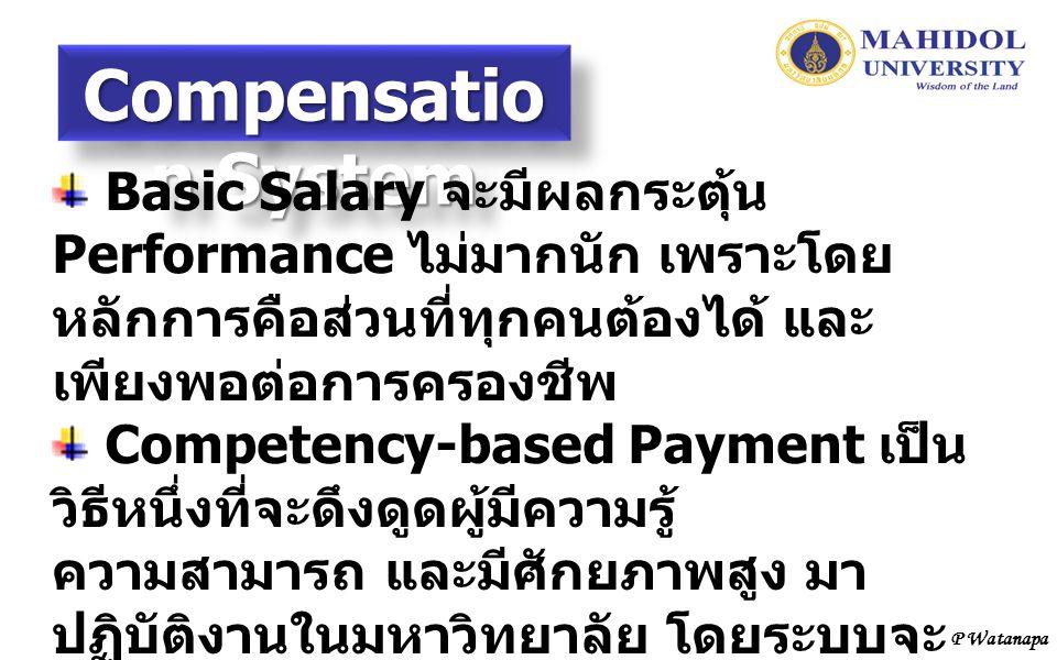 Compensatio n System Basic Salary จะมีผลกระตุ้น Performance ไม่มากนัก เพราะโดย หลักการคือส่วนที่ทุกคนต้องได้ และ เพียงพอต่อการครองชีพ Competency-based Payment เป็น วิธีหนึ่งที่จะดึงดูดผู้มีความรู้ ความสามารถ และมีศักยภาพสูง มา ปฏิบัติงานในมหาวิทยาลัย โดยระบบจะ เปิดให้ทำ Short-term Contract ก่อน เพื่อตรวจสอบความแม่นยำในการสรรหา บุคคล