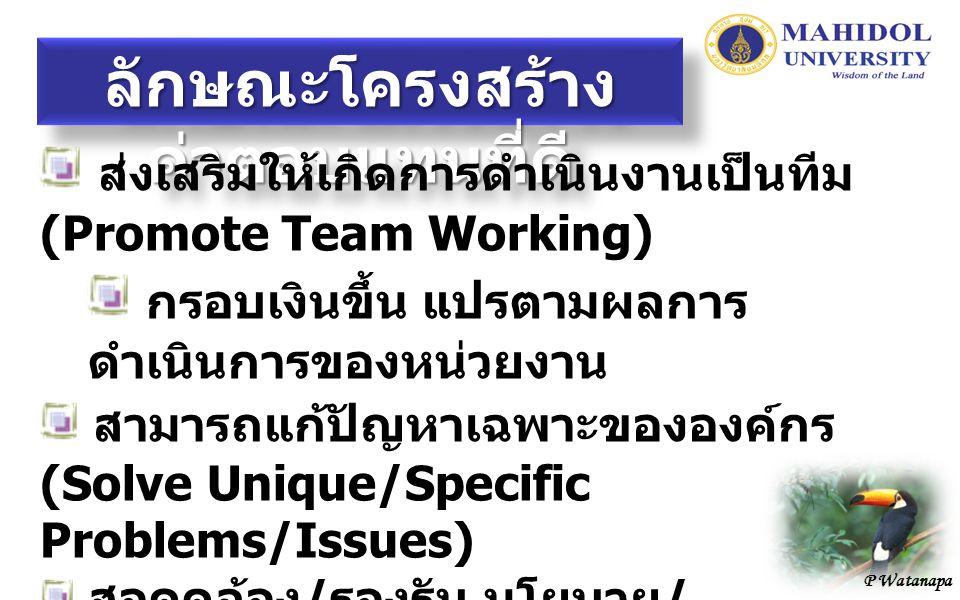 P Watanapa ลักษณะโครงสร้าง ค่าตอบแทนที่ดี ส่งเสริมให้เกิดการดำเนินงานเป็นทีม (Promote Team Working) กรอบเงินขึ้น แปรตามผลการ ดำเนินการของหน่วยงาน สามารถแก้ปัญหาเฉพาะขององค์กร (Solve Unique/Specific Problems/Issues) สอดคล้อง / รองรับ นโยบาย / ยุทธศาสตร์การบริหารและนโยบาย / ยุทธศาสตร์การบริหารทรัพยากรบุคคล และค่านิยมขององค์กร (Alignment with Policies, Strategies and Core Values)