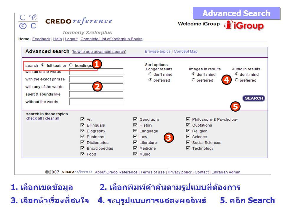 Advanced Search 1 2 3 4 5 1. เลือกเขตข้อมูล 2. เลือกพิมพ์คำค้นตามรูปแบบที่ต้องการ 3.