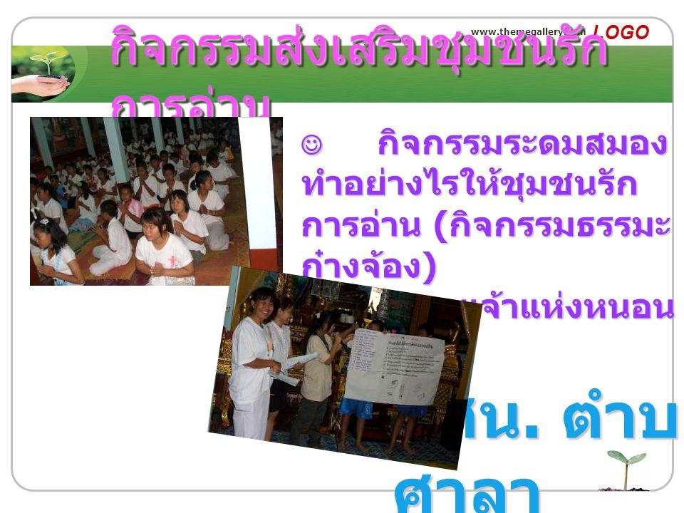 www.themegallery.com LOGO กิจกรรมส่งเสริมชุมชนรัก การอ่าน กศน. ตำบล ศาลา กิจกรรมระดมสมอง ทำอย่างไรให้ชุมชนรัก การอ่าน ( กิจกรรมธรรมะ ก๋างจ้อง ) กิจกรร