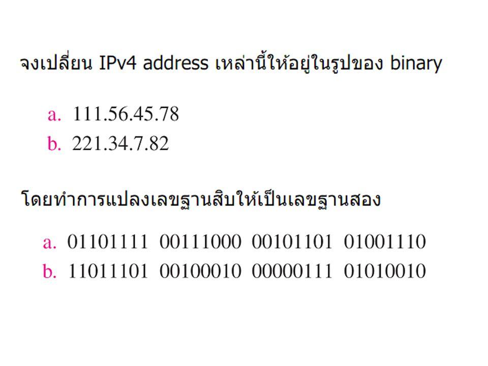 ตัวอย่าง สมมติ ได้รับ ip address คือ 202.44.37.0 ต้องการแบ่งเป็นเครือข่ายย่อย ๆ เป็นจำนวน 4 subnet จงหา subnet address และ ip addess ต่าง ๆ ของ subnet เหล่านั้น