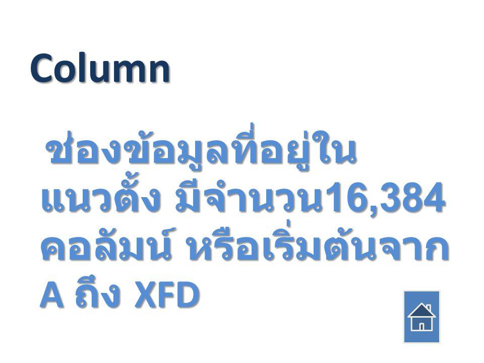 Column ช่องข้อมูลที่อยู่ใน แนวตั้ง มีจำนวน 16,384 คอลัมน์ หรือเริ่มต้นจาก A ถึง XFD ช่องข้อมูลที่อยู่ใน แนวตั้ง มีจำนวน 16,384 คอลัมน์ หรือเริ่มต้นจาก A ถึง XFD