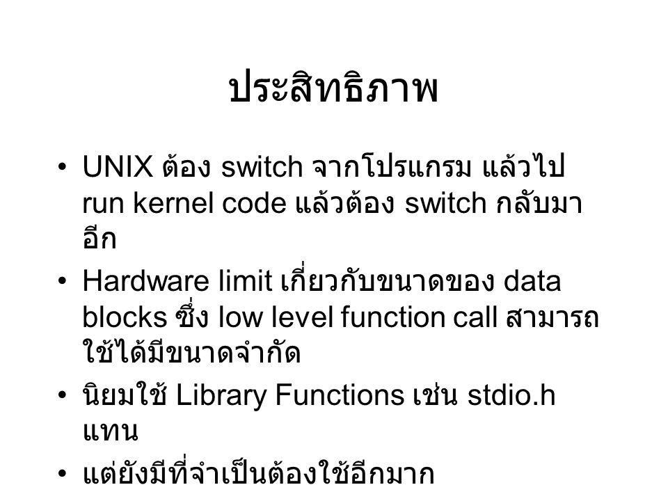 ประสิทธิภาพ UNIX ต้อง switch จากโปรแกรม แล้วไป run kernel code แล้วต้อง switch กลับมา อีก Hardware limit เกี่ยวกับขนาดของ data blocks ซึ่ง low level function call สามารถ ใช้ได้มีขนาดจำกัด นิยมใช้ Library Functions เช่น stdio.h แทน แต่ยังมีที่จำเป็นต้องใช้อีกมาก