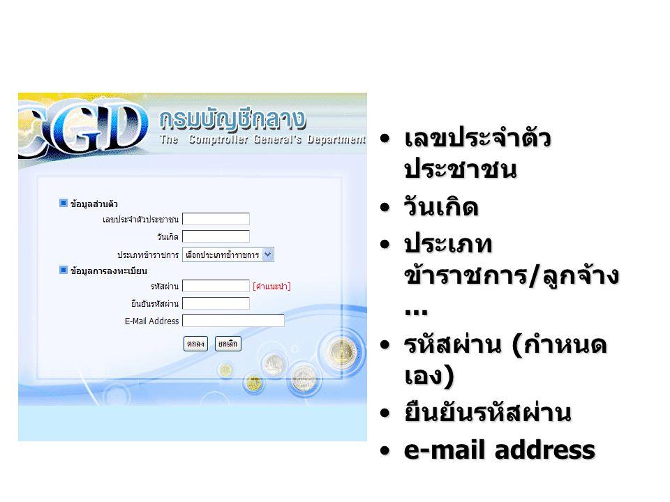 เลขประจำตัว ประชาชน เลขประจำตัว ประชาชน วันเกิด วันเกิด ประเภท ข้าราชการ / ลูกจ้าง... ประเภท ข้าราชการ / ลูกจ้าง... รหัสผ่าน ( กำหนด เอง ) รหัสผ่าน (