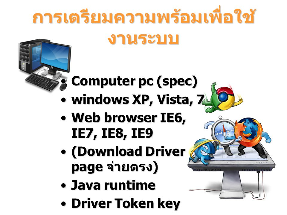 การเตรียมความพร้อมเพื่อใช้ งานระบบ Computer pc (spec)Computer pc (spec) windows XP, Vista, 7windows XP, Vista, 7 Web browser IE6, IE7, IE8, IE9Web bro