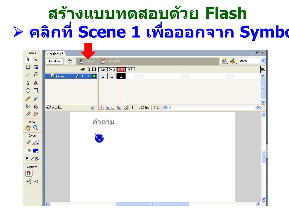 สร้างแบบทดสอบด้วย Flash  คลิกที่ Scene 1 เพื่อออกจาก Symbol