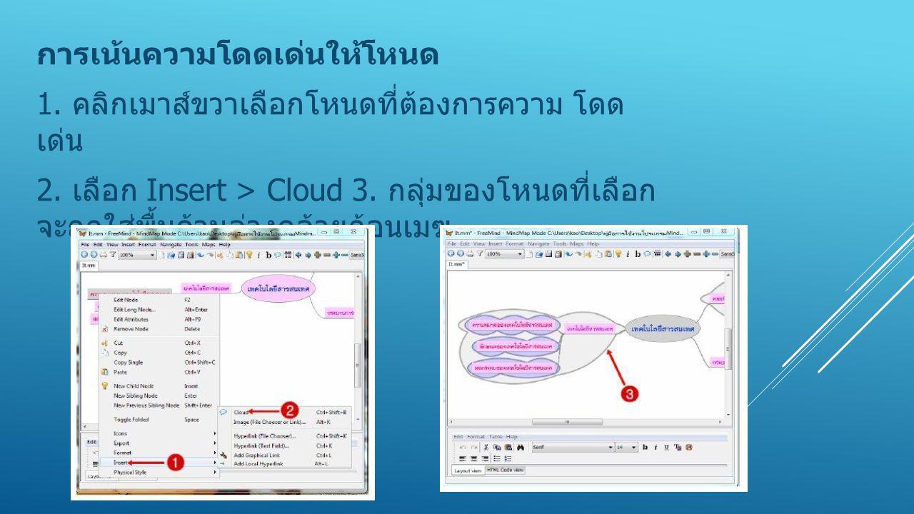 การเน้นความโดดเด่นให้โหนด 1. คลิกเมาส์ขวาเลือกโหนดที่ต้องการความ โดด เด่น 2. เลือก Insert > Cloud 3. กลุ่มของโหนดที่เลือก จะถูกใส่พื้นด้านล่างคล้ายก้อ