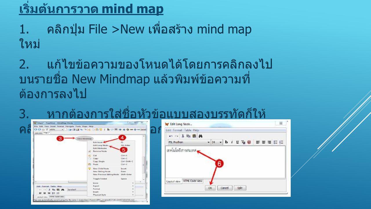 เริ่มต้นการวาด mind map 1. คลิกปุ่ม File >New เพื่อสร้าง mind map ใหม่ 2. แก้ไขข้อความของโหนดได้โดยการคลิกลงไป บนรายชื่อ New Mindmap แล้วพิมพ์ข้อความท