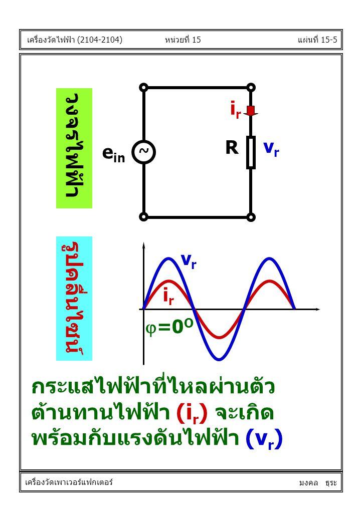 แผ่นที่ 15-5 irir R e in ~ vrvr วงจรไฟฟ้า รูปคลื่นไซน์  =0 O vrvr irir หน่วยที่ 15 เครื่องวัดไฟฟ้า (2104-2104) เครื่องวัดเพาเวอร์แฟกเตอร์ มงคล ธุระ กระแสไฟฟ้าที่ไหลผ่านตัว ต้านทานไฟฟ้า (i r ) จะเกิด พร้อมกับแรงดันไฟฟ้า (v r )