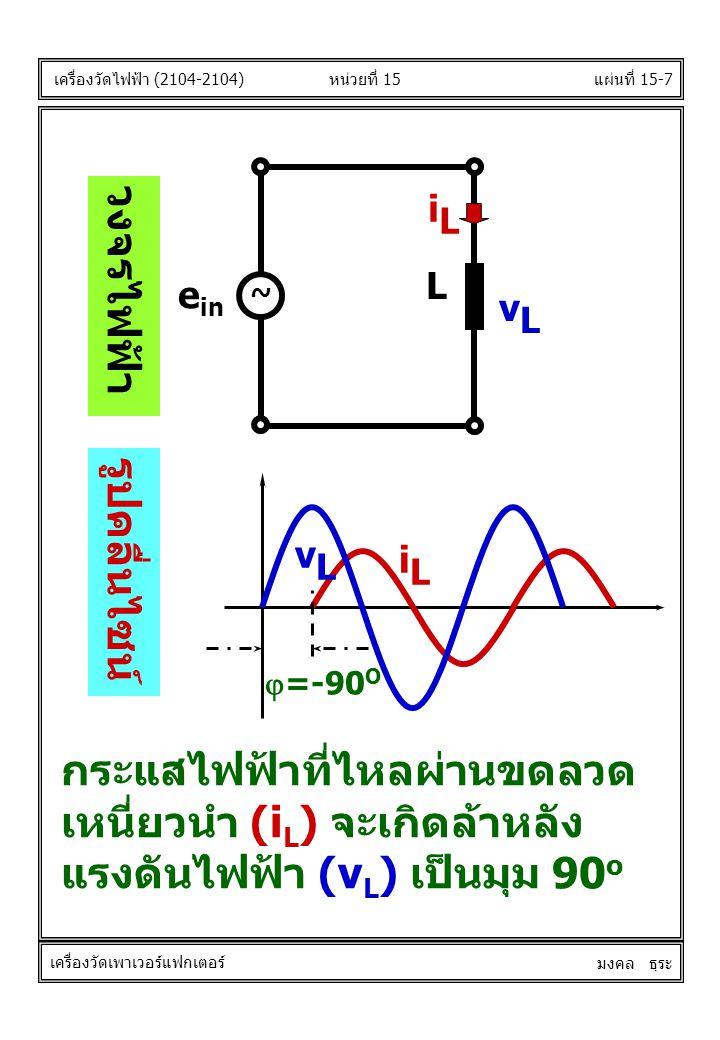 แผ่นที่ 15-7  =-90 O vLvL iLiL หน่วยที่ 15 เครื่องวัดไฟฟ้า (2104-2104) เครื่องวัดเพาเวอร์แฟกเตอร์ มงคล ธุระ วงจรไฟฟ้า รูปคลื่นไซน์ iLiL L e in ~ vLvL กระแสไฟฟ้าที่ไหลผ่านขดลวด เหนี่ยวนำ (i L ) จะเกิดล้าหลัง แรงดันไฟฟ้า (v L ) เป็นมุม 90 o