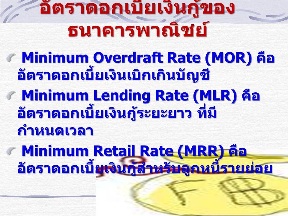 อัตราดอกเบี้ยเงินกู้ของ ธนาคารพาณิชย์ Minimum Overdraft Rate (MOR) คือ อัตราดอกเบี้ยเงินเบิกเกินบัญชี Minimum Overdraft Rate (MOR) คือ อัตราดอกเบี้ยเงินเบิกเกินบัญชี Minimum Lending Rate (MLR) คือ อัตราดอกเบี้ยเงินกู้ระยะยาว ที่มี กำหนดเวลา Minimum Lending Rate (MLR) คือ อัตราดอกเบี้ยเงินกู้ระยะยาว ที่มี กำหนดเวลา Minimum Retail Rate (MRR) คือ อัตราดอกเบี้ยเงินกู้สำหรับลูกหนี้รายย่อย Minimum Retail Rate (MRR) คือ อัตราดอกเบี้ยเงินกู้สำหรับลูกหนี้รายย่อย