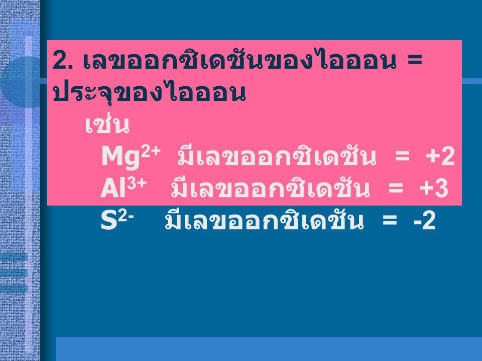 เกณฑ์กำหนดค่าเลข ออกซิเดชันของธาตุ 1. ธาตุอิสระทุกชนิด 1. ธาตุอิสระทุกชนิด มีเลข ออกซิเดชัน = 0 ธาตุอิสระดังกล่าวไม่ว่าจะอยู่ใน รูปของอะตอม หรือโมเลกุ