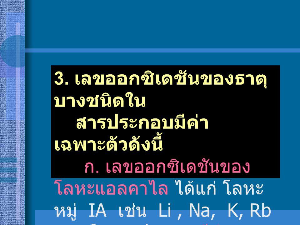 2. เลขออกซิเดชันของไอออน = ประจุของไอออน เช่น Mg 2+ มีเลขออกซิเดชัน = +2 Al 3+ มีเลขออกซิเดชัน = +3 S 2- มีเลขออกซิเดชัน = -2